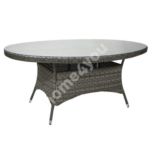 Table GENEVA oval 180x120xH73cm, table top: clear glass, aluminum frame with plastic wicker, color: grey