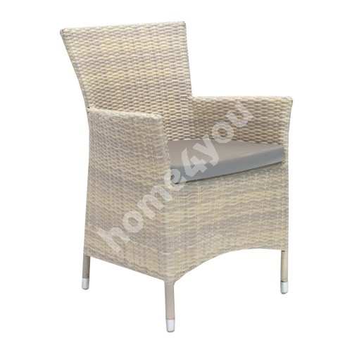 Chair WICKER-1 with cushion 61x58xH86cm, aluminum frame with plastic wicker, color: beige