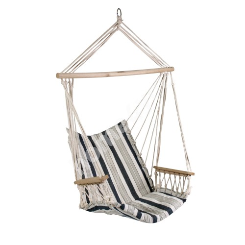 Swing chair HIP with cushion seat, material: cotton, color: white - blue striped