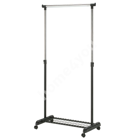 Clothes hanger FRANK with shoe rack on wheels 83x43x93,5-168cm, color: black-chrome