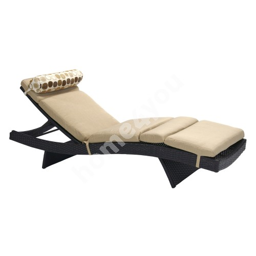 Deck chair STELLA with cushion, 200x65,5xH33cm, aluminum frame with plastic wicker, color: dark brown