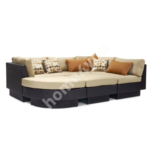 Sofa set STELLA with beige cushions, aluminum frame with plastic wicker, color: dark brown