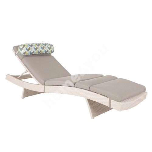 Deck chair STELLA with cushion, 200x65,5xH33cm, aluminum frame with plastic wicker, color: greyish white