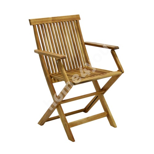 Chair FINLAY with arm rests, 54x57xH86cm, foldable, wood: acacia, finish: oiled