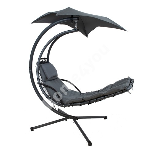 Hanging chair DREAM with awning, H205cm, grey