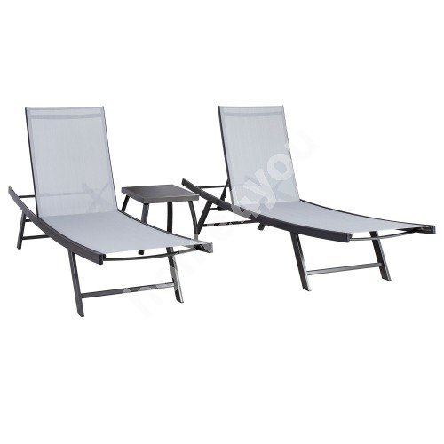 Garden furniture set ARIO side table and 2 deck chairs, steel frame, color: grey