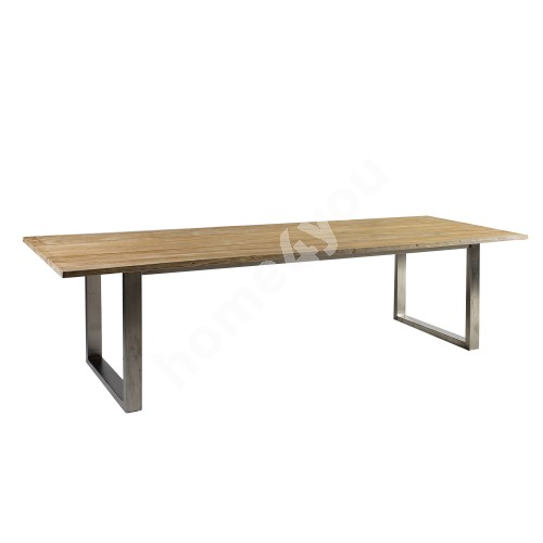 Table NAUTICA 280x100xH76cm, table top: teak, finishing: rustic, not oiled, stainless steel  legs