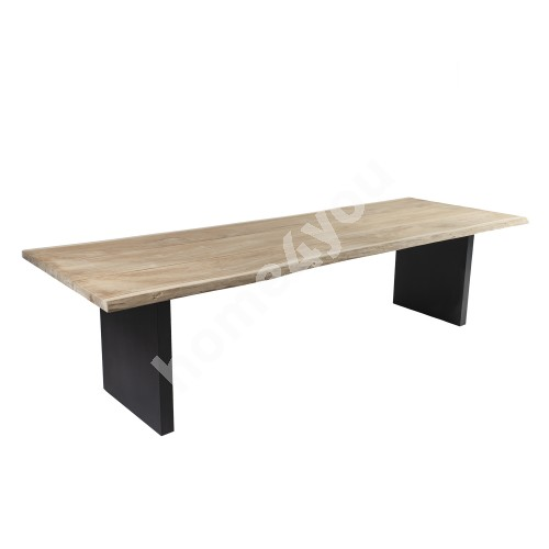 Table ROYAL 290x100x76cm, table top: teak, finishing: rustic, not oiled, legs: aluminum, color: grey
