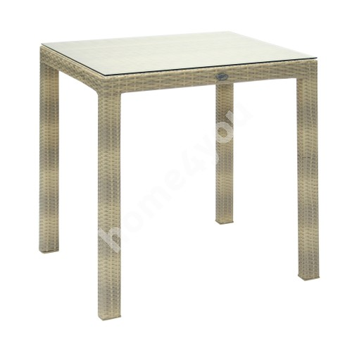 Table WICKER 73x73xH71cm, table top: clear glass, aluminum frame with plastic wicker, color: beige