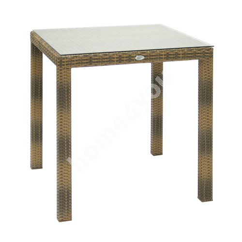 Table WICKER 73x73xH71cm, table top: clear glass, aluminum frame with plastic wicker, color: cappuccino