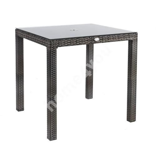 Table WICKER 73x73xH71cm, table top: clear glass, aluminum frame with plastic wicker, color: dark brown