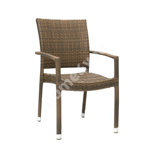 Chair WICKER-3 with arm rests 66x59xH92,5cm, aluminum frame with plastic wicker, color: cappuccino