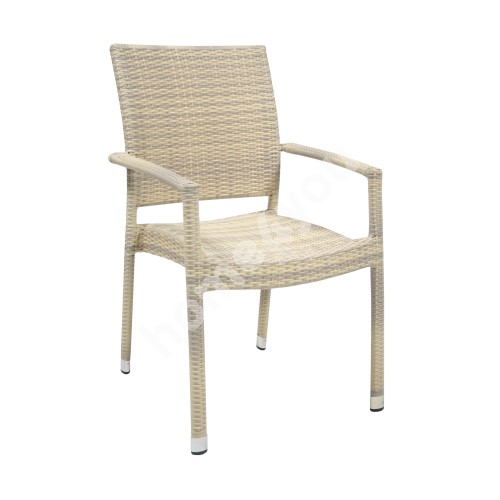 Chair WICKER-3 with arm rests 66x59xH92,5cm, aluminum frame with plastic wicker, color: beige
