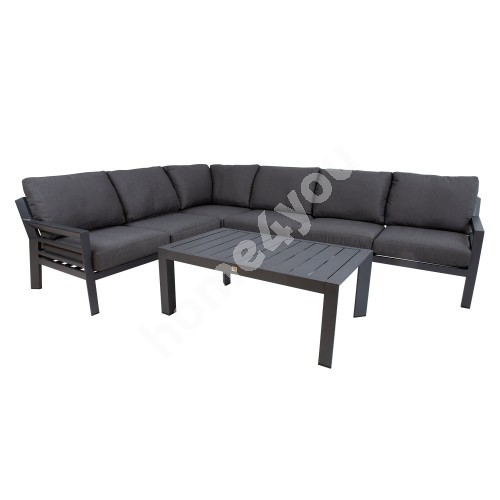 Garden furniture set TOMSON table and corner sofa, dark grey