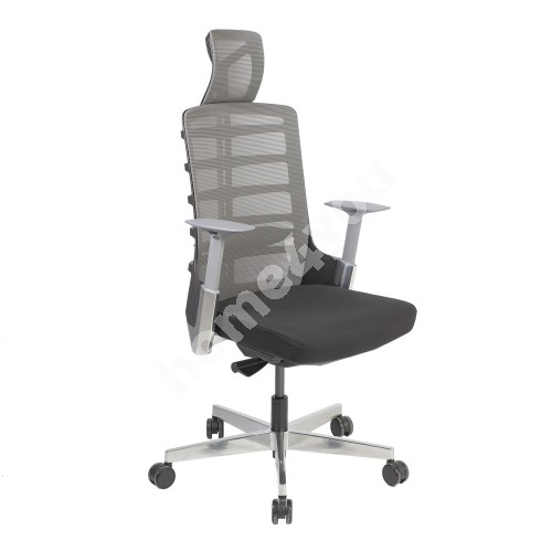 Task chair SPINELLY 70x70xH118-128cm, seat: fabric, color: black, back rest: mesh fabric, color: grey
