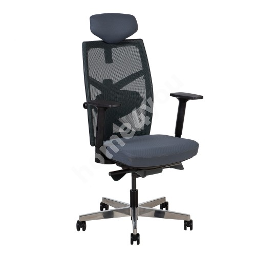 Task chair TUNE 70x70xH111-128cm, seat: fabric, back rest: mesh fabric, color: grey