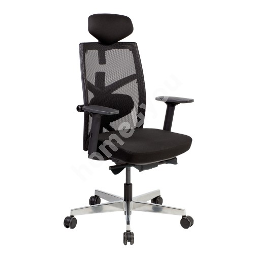 Task chair TUNE 70x70xH111-128cm, seat: fabric, back rest: mesh fabric, color: black