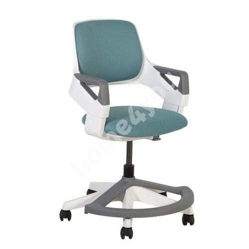 Children's chair ROOKEE 64x64xH76-93cm, teal blue, white plastic shell