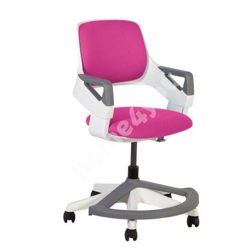 Children's chair ROOKEE for 4-14year 64x64xH76-93cm upholstered seat and backrest, color: pink, white plastic shell