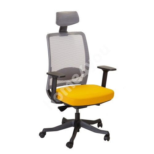 Task chair ANGGUN 70x70xH116-130,5cm, yellow/grey
