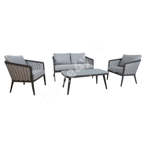 Garden furniture set MARIE table, sofa and 2 chairs, grey