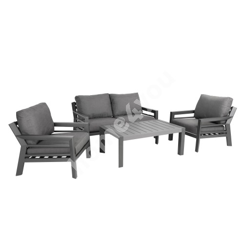 Garden furniture set TOMSON table, sofa and 2 chairs, dark grey aluminum frame, grey cushions