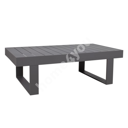 Coffee table FLUFFY 133x73,5xH42cm, table top and frame: dark grey aluminum