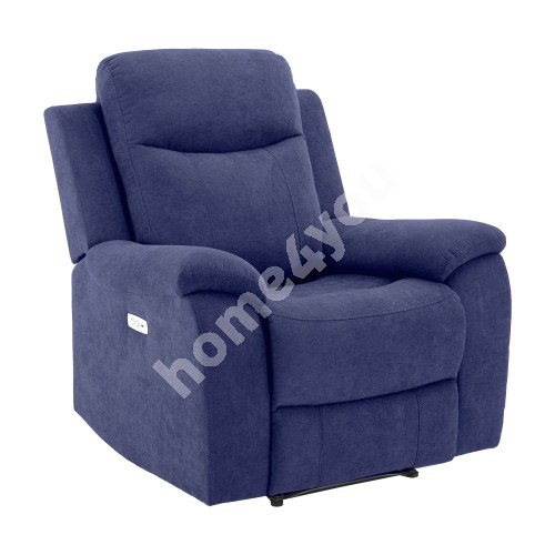 Recliner arm chair MILO 97x69xH103cm, with electric mechanism, blue