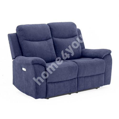 Recliner sofa MILO 2-seater 155x96xH103cm, with electric mechanism, blue