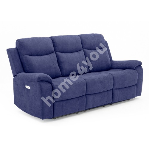 Recliner sofa MILO 3-seater 209x96xH103cm, with electric mechanism, blue