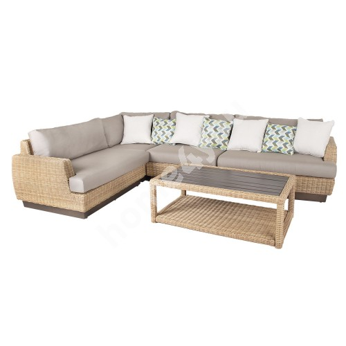 Sofa set TANJA 5-parts 313/219x94xH71cm aluminum frame with plastic wicker, color: beige
