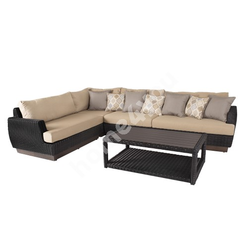 Sofa set TANJA 5-parts 313/219x94xH71cm aluminum frame with plastic wicker, color: dark brown