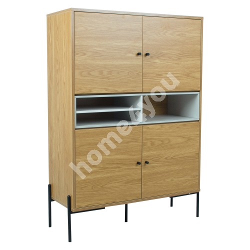 Side board DELANO 103x40xH144cm,  MDF oak / grey