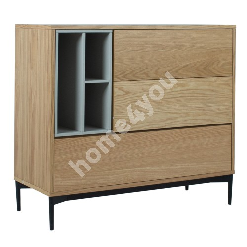 Side board DELANO 100x41,5xH90cm, MDF oak / grey