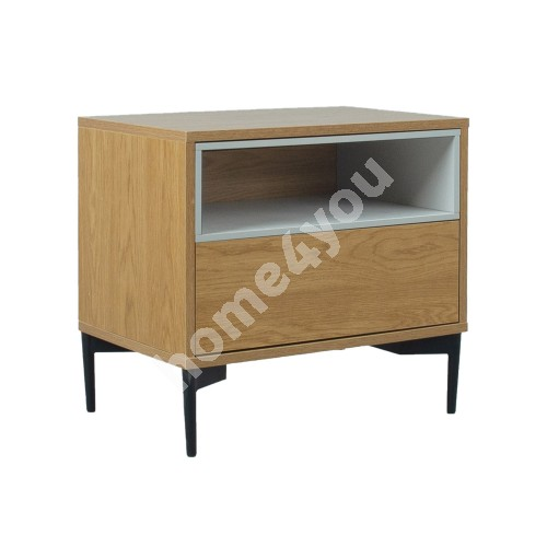 Night stand DELANO 60x41,5xH55cm, MDF oak / grey