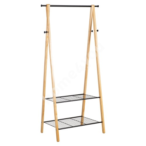 Clothes hanger FOREST with 2 shelves and 4 hook 79x45xH155cm, material: pine wood / steel, color: natural / black