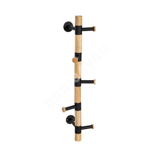 Wall hanger FOREST with 5-hook 16,5x20xH60cm, material: wood / steel, color: natural / black