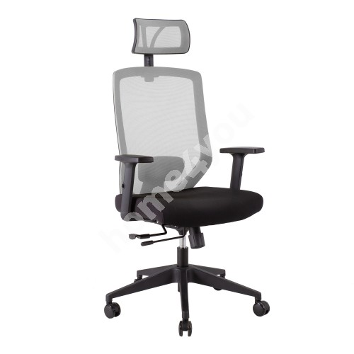 Task chair JOY  64x64xH115-125cm, iste: kangas, backrest: mesh fabric, color: black / grey