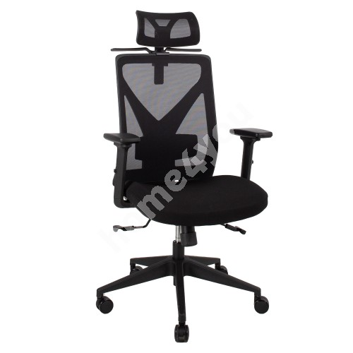 Task chair MIKE  64x65xH110-120cm, iste: kangas, backrest: mesh fabric, color: black