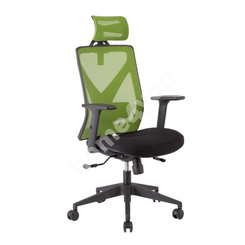 Task chair MIKE 64x65xH110-120cm, iste: kangas, backrest: mesh fabric, color: black / green