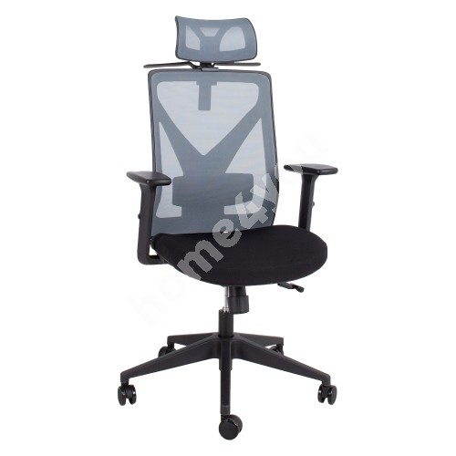 Task chair MIKE 64x65xH110-120cm, iste: kangas, backrest: mesh fabric, color: black / grey
