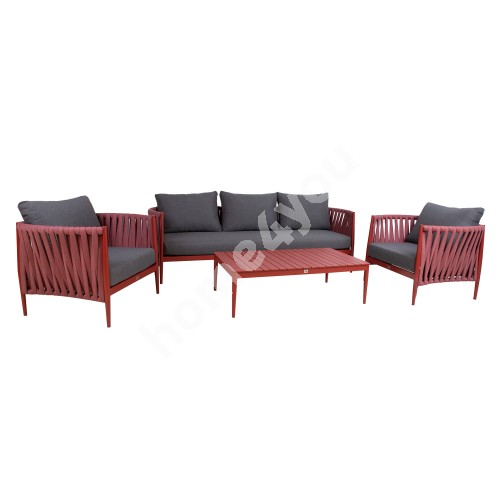 Garden furniture set BREMEN table, sofa and 2 chairs, red