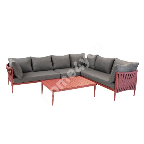 Garden furniture set BREMEN table and corner sofa, red aluminum frame with rope weaving, grey cushions