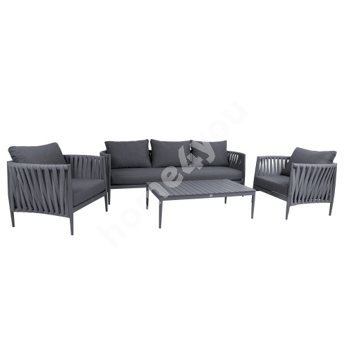 Garden furniture set BREMEN table, sofa and 2 chairs, grey