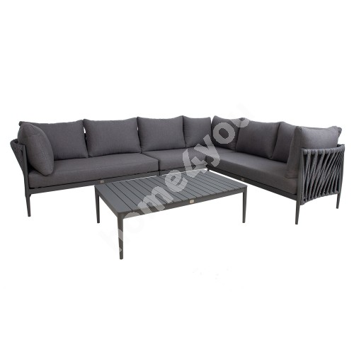 Garden furniture set BREMEN table and corner sofa, grey