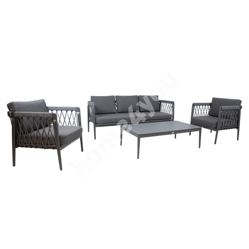 Garden furniture set ANTHEM table, sofa and 2 chairs, grey