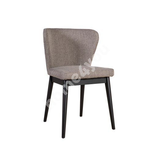 Chair LISBON 53,5x54xH81,5cm, upholstered seat with fabric cover, color: grey, black wooden legs