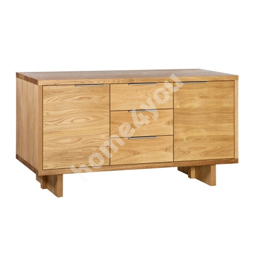 Side board LISBON with 2-doors and 3-drawers 180x45xH82cm, material: particle board with natural oak veneer