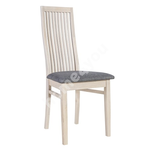 Chair OXFORD 44x50,5xH103cm, seat: fabric, color: grey, wood: oak, finishing: white oiled