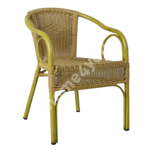 Chair BAMBUS with armrests light brown